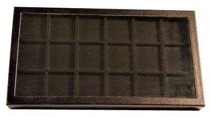 Chipboard Display Case, 18 Sect 7 3/4 x 14 1/2 x 1'', black