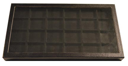 Chipboard Display Case, 24 Sect 7 3/4 x 14 1/2 x 1'', black