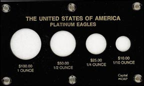 Capital Plastics #434P, Platinum Eagles, 1 oz - 1/10 oz, Black