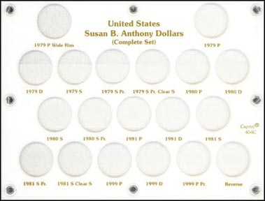 Capital Plastics #454C, Susan B. Anthony Dollar Set, White