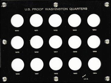 Capital Plastics #456B, Proof Washington Quarters 1950-64, Black