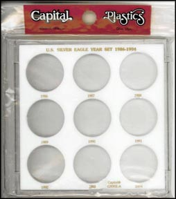 Capital Plastics #GX9SEA, Silver Eagle Year Set, 1986-1994, White