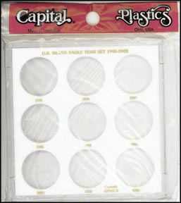 Capital Plastics #GX9SEB, Silver Eagle Year Set, 1995-2003, White