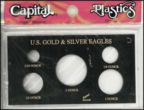 Capital Plastics #MA434F, Gold & Silver Eagles, Black