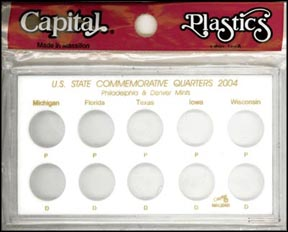 Capital Plastics #MAQB04, State Quarters for 2004, 10 coin, White