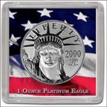 Edgar Marcus Snap-Tite Coin Display - 2'' x 2'', Platinum Eagle 1oz
