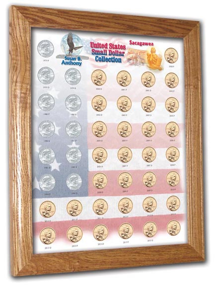 Edgar Marcus & Co Coin Frame, Susan B. Anthony & Sacagawea Set