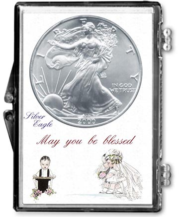 Edgar Marcus Snaplock Display - Wedding Couple Silver Eagle