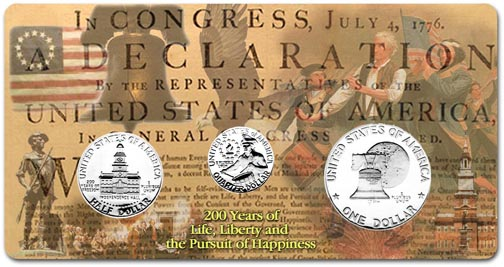 Edgar Marcus & Co Specialty Set Display - Bicentennial Quarter, Half and Dollar