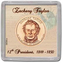 Edgar Marcus & Co Snap-Tite Coin Display - Zachary Taylor