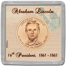 Edgar Marcus & Co Snap-Tite Coin Display - Abraham Lincoln