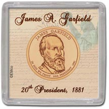 Edgar Marcus & Co Snap-Tite Coin Display - James Garfield