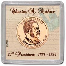 Edgar Marcus & Co Snap-Tite Coin Display - Chester A Arthur