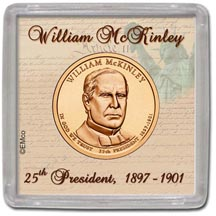 Edgar Marcus & Co Snap-Tite Coin Display - William McKinley