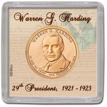 Edgar Marcus & Co Snap-Tite Coin Display - Warren Harding