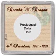 Edgar Marcus & Co Snap-Tite Coin Display - Ronald Reagan