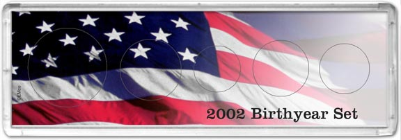 Edgar Marcus Snap-Tite Set Display - 2'' x 6'', Cent thru Half Dollar - Birth Year Set 2002
