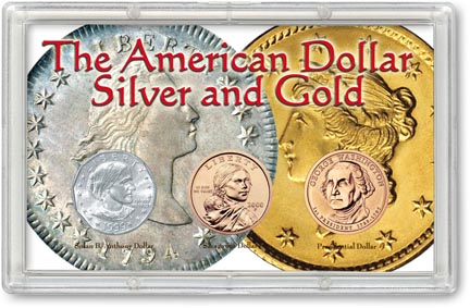 Edgar Marcus & Co Snap-Tite Commemorative Coin Display - American Dollar, Silver & Gold_MAIN