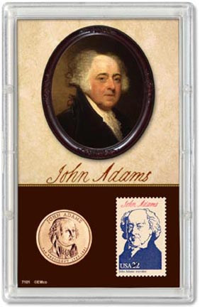 Edgar Marcus & Co Snap-Tite Commemorative Coin Display - John Adams Presidential Dollar & Stamp