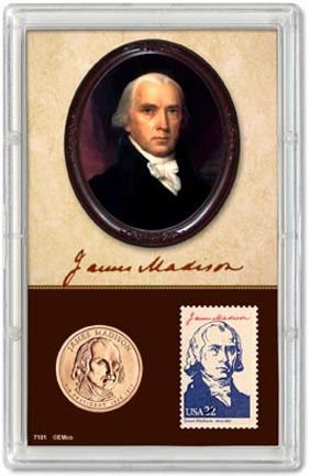 Edgar Marcus & Co Snap-Tite Commemorative Coin Display - James Madison Presidential Dollar & Stamp MAIN