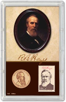 Edgar Marcus & Co Snap-Tite Commemorative Coin Display - Rutherford Hayes Presidential Dollar, Stamp