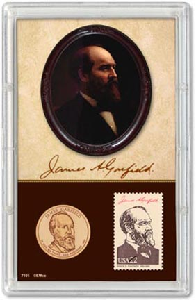 Edgar Marcus & Co Snap-Tite Commemorative Coin Display - James Garfield Presidential Dollar & Stamp MAIN