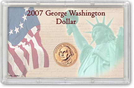 Edgar Marcus & Co Snap-Tite Commemorative Coin Display - George Washington Presidential Dollar_MAIN