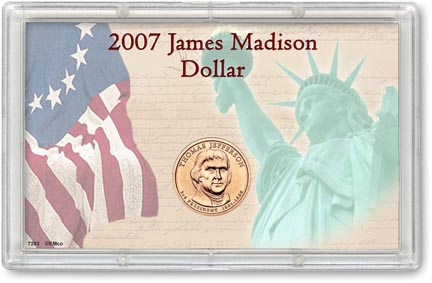 Edgar Marcus & Co Snap-Tite Commemorative Coin Display - Thomas Jefferson Presidential Dollar