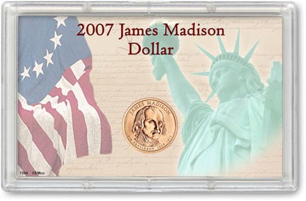 Edgar Marcus & Co Snap-Tite Commemorative Coin Display - James Madison Presidential Dollar MAIN