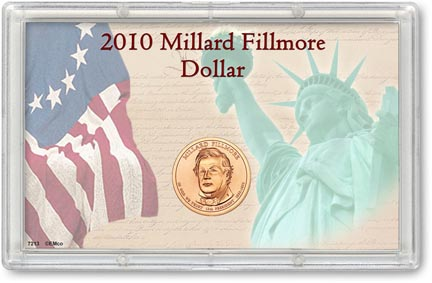 Edgar Marcus & Co Snap-Tite Commemorative Coin Display - Millard Fillmore Presidential Dollar