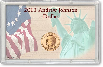 Edgar Marcus & Co Snap-Tite Commemorative Coin Display - Andrew Johnson Presidential Dollar_MAIN