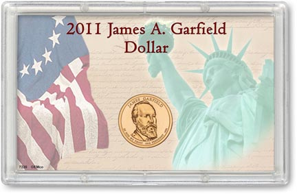 Edgar Marcus & Co Snap-Tite Commemorative Coin Display - James A. Garfield Presidential Dollar_MAIN