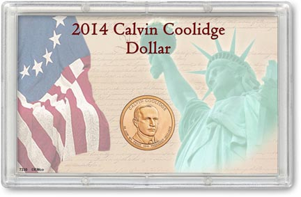 Edgar Marcus & Co Snap-Tite Commemorative Coin Display - Calvin Coolidge Presidential Dollar MAIN