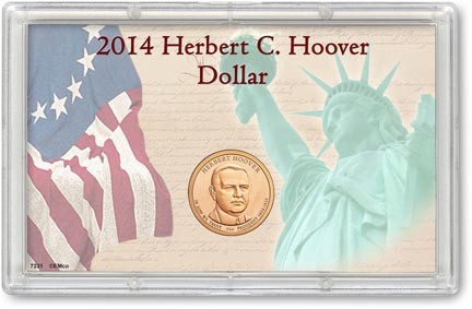 Edgar Marcus & Co Snap-Tite Commemorative Coin Display - Herbert C. Hoover Presidential Dollar