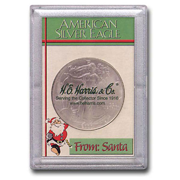 H.E. Harris Frosty Case - 2x3, Silver Eagle Santa
