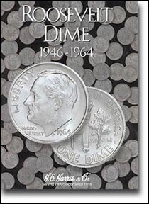 H.E. Harris Coin Folder - Roosevelt Dimes #1 1946-64