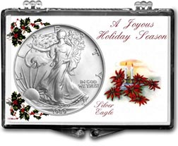 1989 Christmas Candles American Silver Eagle Gift Display THUMBNAIL
