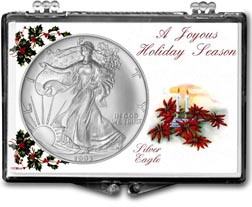 1993 Christmas Candles American Silver Eagle Gift Display THUMBNAIL