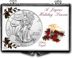 2000 Christmas Candles American Silver Eagle Gift Display THUMBNAIL