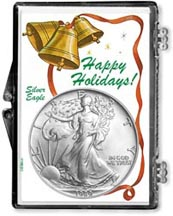 1989 Happy Holidays American Silver Eagle Gift Display THUMBNAIL