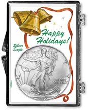 1990 Happy Holidays American Silver Eagle Gift Display THUMBNAIL
