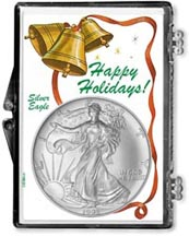1995 Happy Holidays American Silver Eagle Gift Display THUMBNAIL
