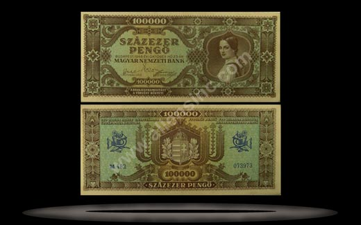 Hungary Banknote, 100,000 Pengo, 23.10.1945, P#121a