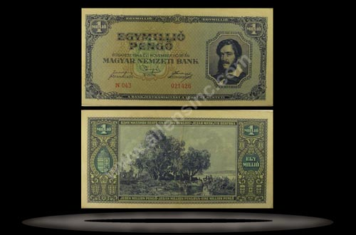 Hungary Banknote, 1 Million Pengo, 16.11.1945, P#122