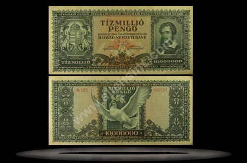 Hungary Banknote, 10 Million Pengo, 16.11.1945, P#123