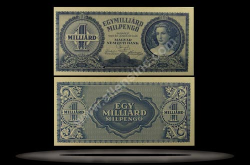 Hungary Banknote, 1 Milliard Milpengo, 3.6.1946, P#131