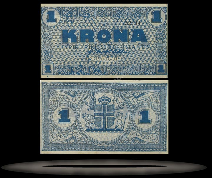Iceland Banknote, 1 Krona, 1941, P#22a