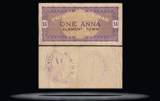 Clement Town POW Camp,India Banknote, 1 Anna, ND (1941-46), P#5158