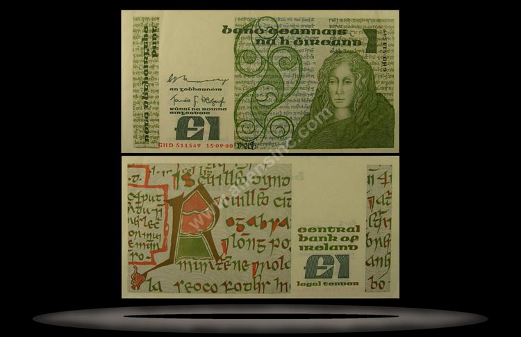 Republic of Ireland Banknote, 1 Pound, 10.7.1984, P#70c