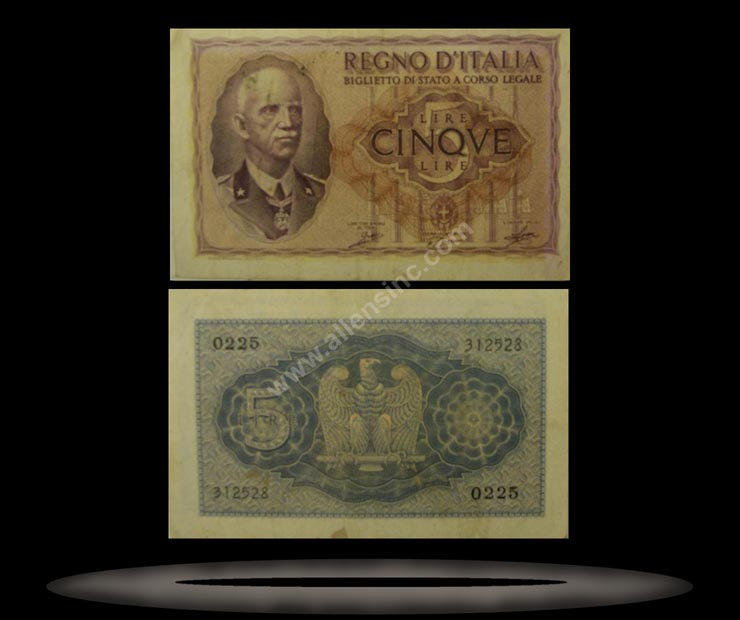 Italy Banknote, 5 Lire, 1940, P#28